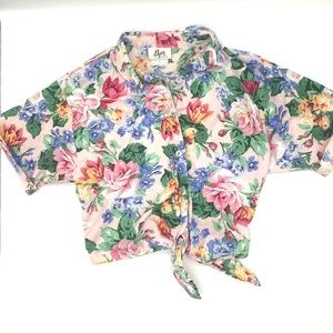 Vintage Byer Knot Front Floral Blouse